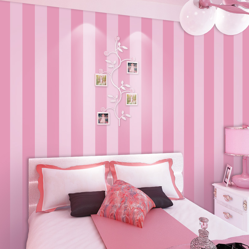 Non Woven Striped Wallpaper Roll Pink Princess Children Room Wall Decoration Wallpaper For Kids