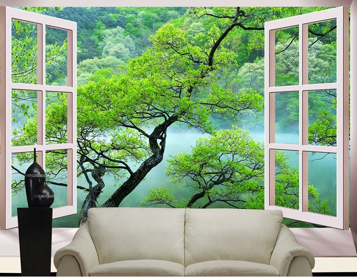 Beibehang Fashion 3d Big Mural Wallpaper Hd Balcony Window: Popular Tree Wall Paper-Buy Cheap Tree Wall Paper Lots