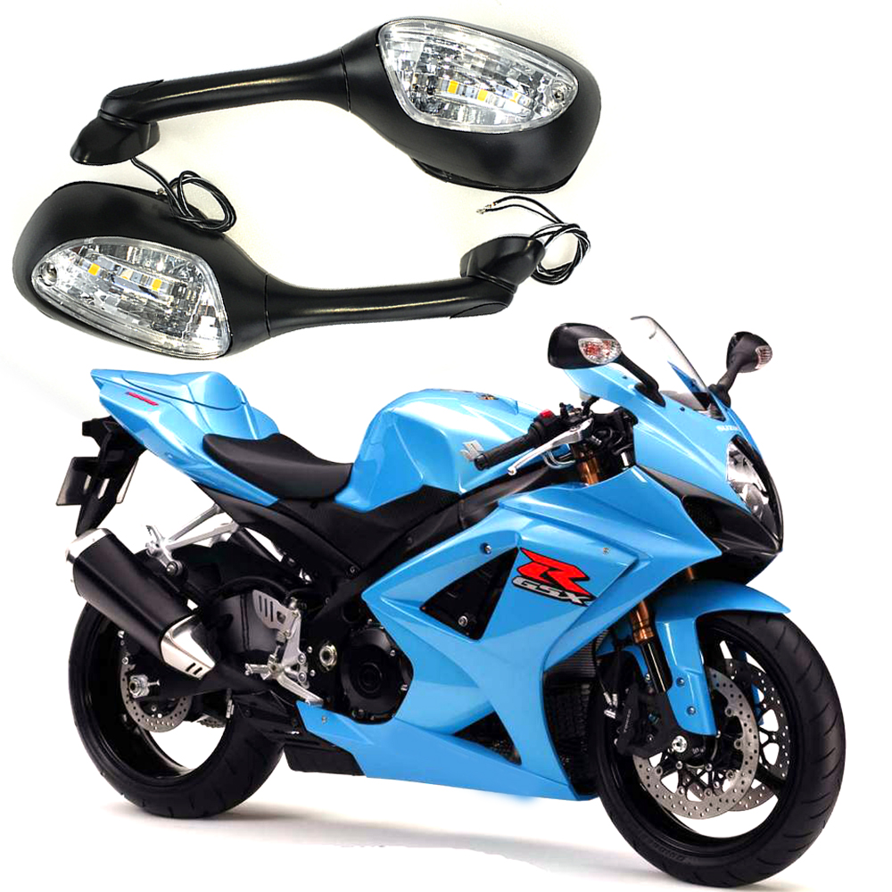 For Suzuki GSXR 600 750 1000 2006-2010 K6 K7 K8 Motorcycle Rearview Rear View Mirrors With LED Turn Signal Light Accessories