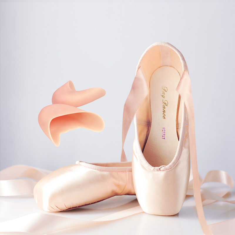 Professional Ballet Pointe Shoes Satin Pink Ballerina Shoes With Silicone Toe Pad