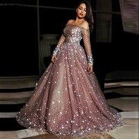 Formal Dress Muslim Evening Dresses Long Sleeves With Appliques Sequined Party Gown Kaftans vestidos de festa
