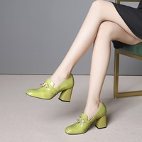 MLJUESE 2019 women pumps autumn spring cow leather crystal Rome style green color slip on high heels lady shoes party size 33 43