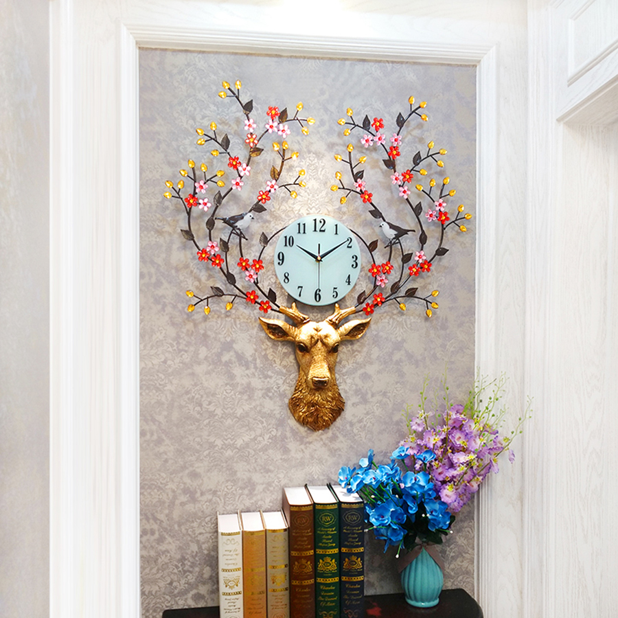 Nordic Artistic Deer Head Antique Large Wall Clock For Living Room Watch Wall Modern Design Creative Clocks Home Decoration5K536 in Wall Clocks from Home Garden