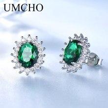 UMCHO Princess Stud Earrings Created Emerald Gemstone 925 Sterling Silver Engagement Wedding Earrings For Women Fine Jewelry