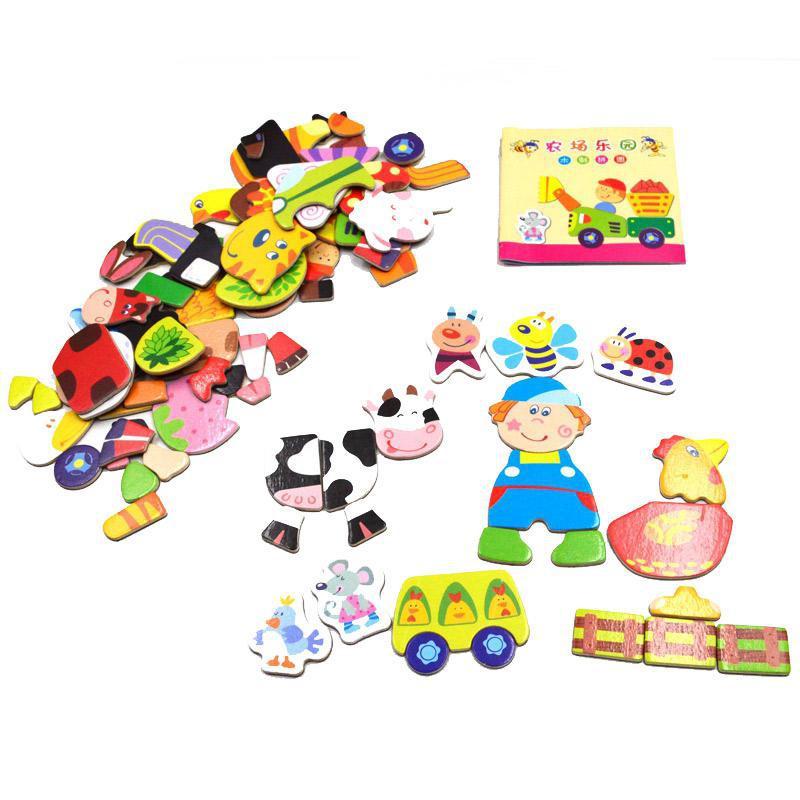 BOHS משק חקלאי פאזל מגנטי צעצועים לילדים מגנטים למקרר, רב תכליתי חינוכי
