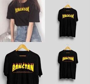 Starqueen-JBH 1PCS korean fashion Kpop Bangtan Jungkook Thrasher T-shirt Kpop Bangtan Boys/Kpop Merch(China)