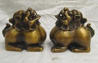 Chinese Folk Classic Bronze Fu Foo Dog Lion Buddhism Censer incense burner