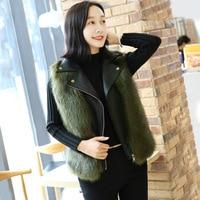 SWYIVY Leather Jackets Woman Faux Fox Fur Outside Warm 2019 New Winter Female Fashion Slim Vest One Size Woman Leather Vest Coat
