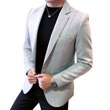 Новое поступление Роскошные Для мужчин Блейзер Новая мода осень высокое качество Slim Fit Мужской сплошной Цвет шерстяной пиджак большой Размеры M-5XL