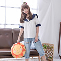 Japanese Lolita Style Summer Women T Shirt Sailor Collar Cat Embroidery Short Sleeve Casual Loose Tee Top