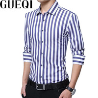 GUEQI Men Fashion Striped Shirts Plus Size M 5XL New Model Long Sleeve Business Man Casual
