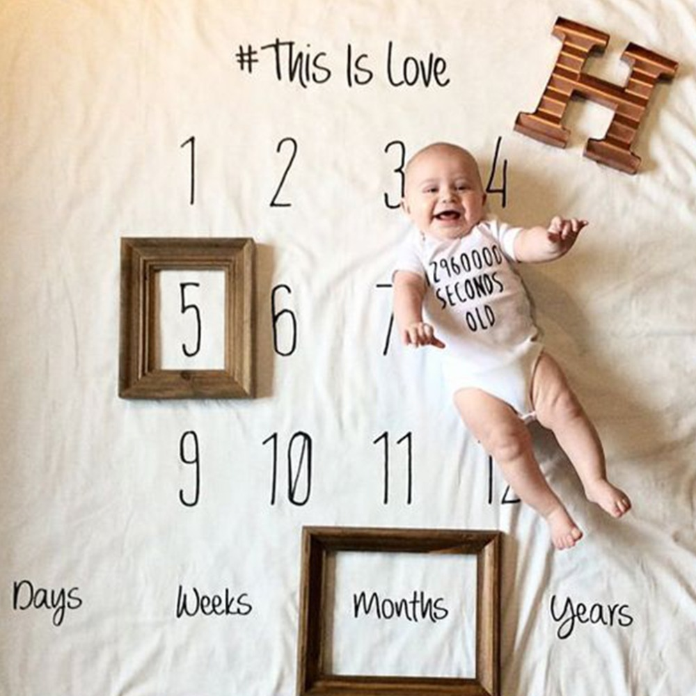 Baby Infant Blanket Wrap Posing Fabric Rug Newborn Letter Backdrop Photo Prop