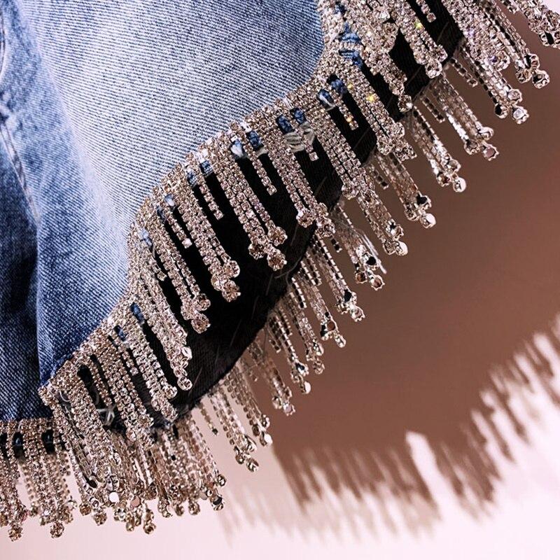 Qiukichonson Diamond Tassel Denim Shorts Women Summer 2019 England Style High Waist Knickers Ladies Sexy Short Jeans Feminino