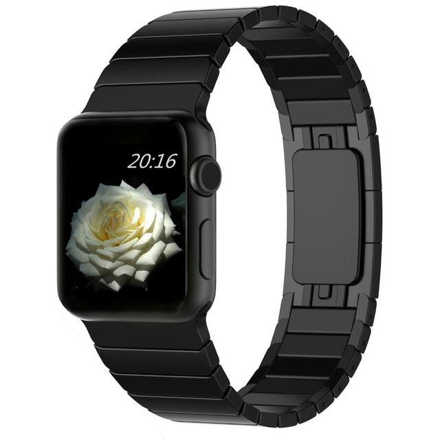 Link pulseira de qualidade superior para a apple watch band 42mm preto prata ouro aço inoxidável pulseiras para cinta iwatch awcsob1l
