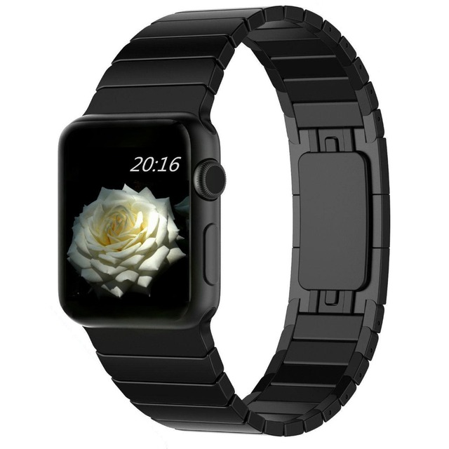 TOP Quality Link Bracelet For Apple Watch Band 42mm Black Silver Gold Stainless Steel Watchbands For iWatch Strap AWCSOB1L