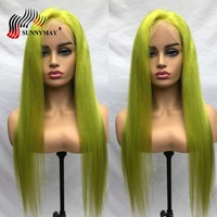 Sunnymay Green Full Lace Human Hair Wigs Straight Brazilian Remy Hair Transparent Full Lace Wig With Baby Hair