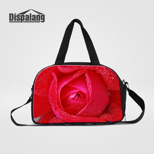 Dispalang Protable Women Handbags Travel Bags Red Rose Design Duffle Bag  Canvas Top Quality Girl Weekend Overnight Messenger Bag 8aa4d0af79