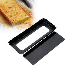Fluted Pie Tart Pan Mold Baking Removable Bottom Nonstick Quiche Tool Rectangle Bakeware Dishes Cake Pans