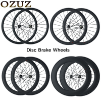 OZUZ Carbon Wheels 700C 3K 23mm wide road Disc Brake Wheelset 38mm 50mm 88mm depth Clincher Tubular road Cyclocross Disc Wheels