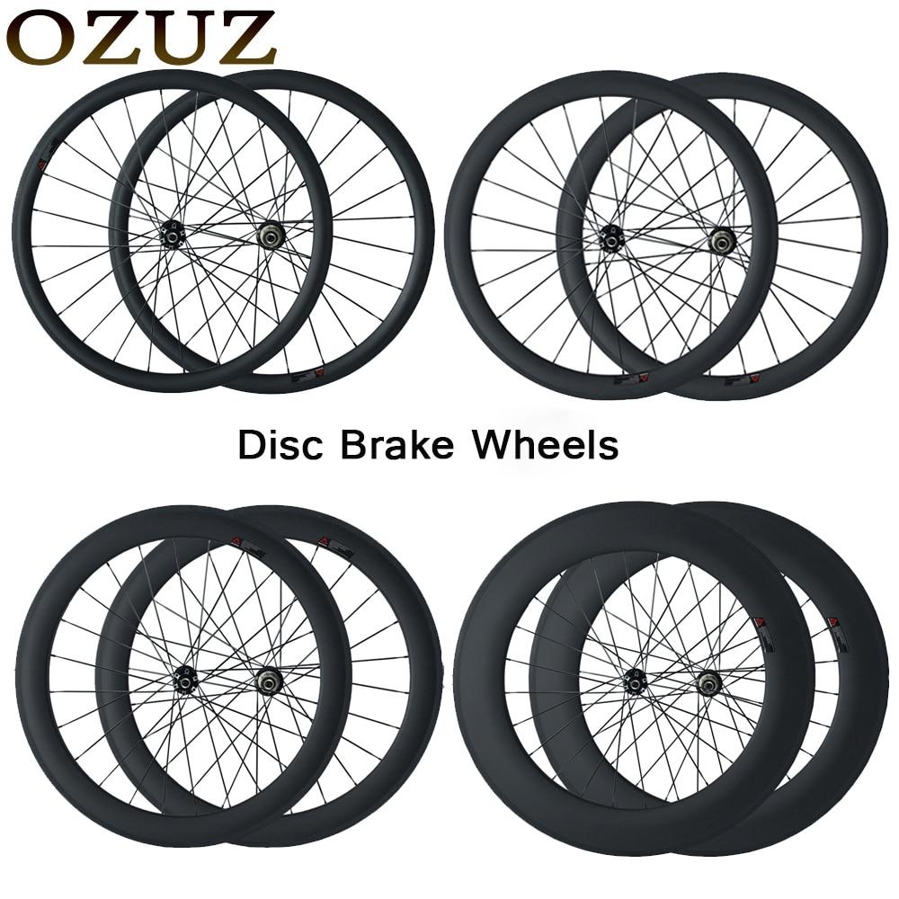 OZUZ Carbon Wheels 700C 3K 23mm wide road Disc Brake Wheelset 24mm 38mm 50mm depth Clincher Tubular road Cyclocross Disc Wheel