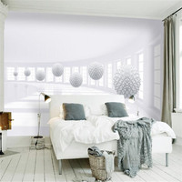 Modern Custom 3d Photo Wallpaper Large Living Room Bedroom Background Wall Mural Stereoscopic White Nordic Round