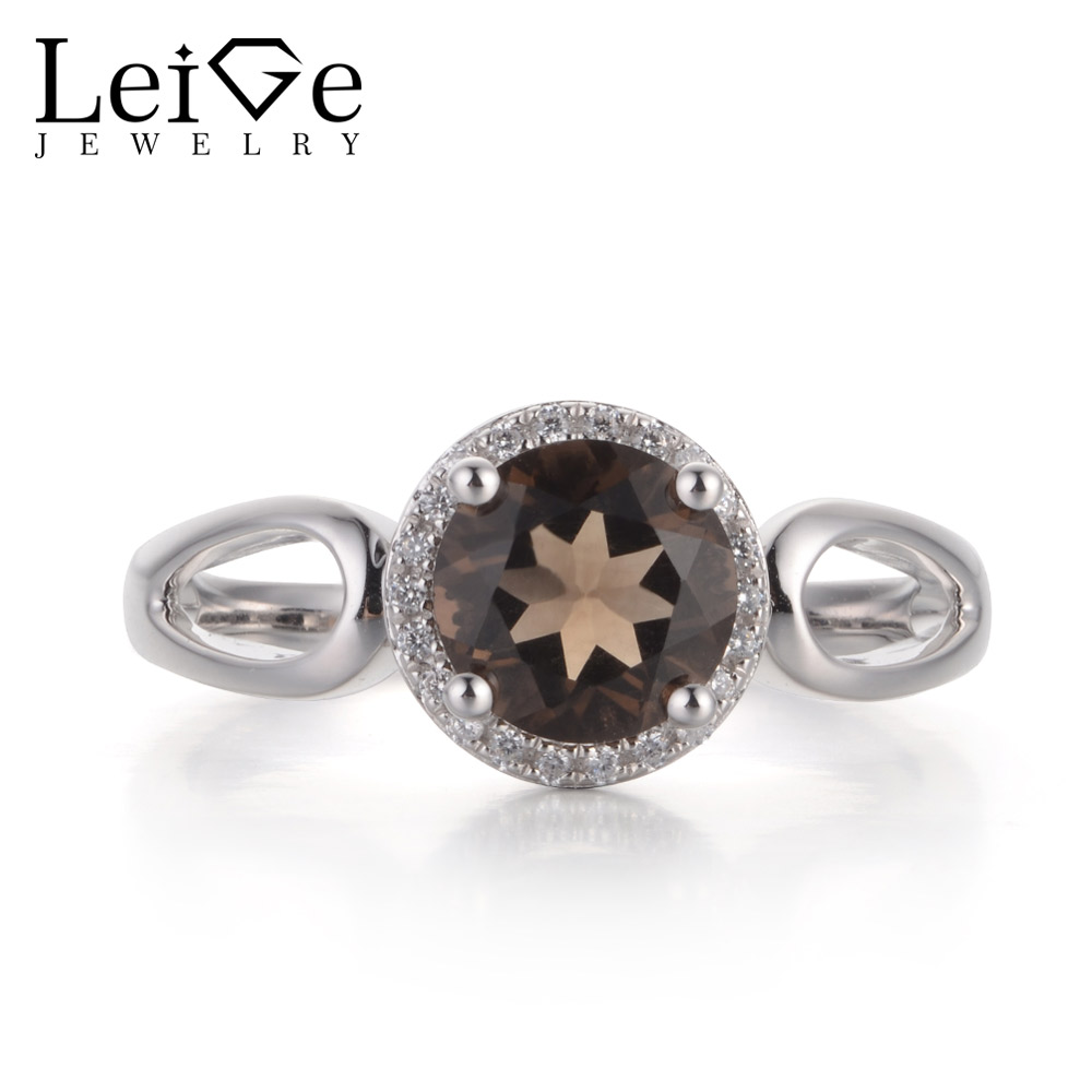 Leige Jewelry Brown Color Natural Smoky Quartz Gemstone Round Cut Prong Setting Halo Rings For Woman Engagement Vintage Rings