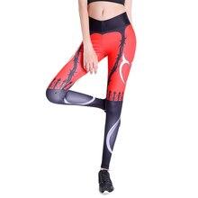 Sexy Push Up Leggings Women Devil Heart Printed Pants High Waist Gothic Leggings Workout Fitness Running