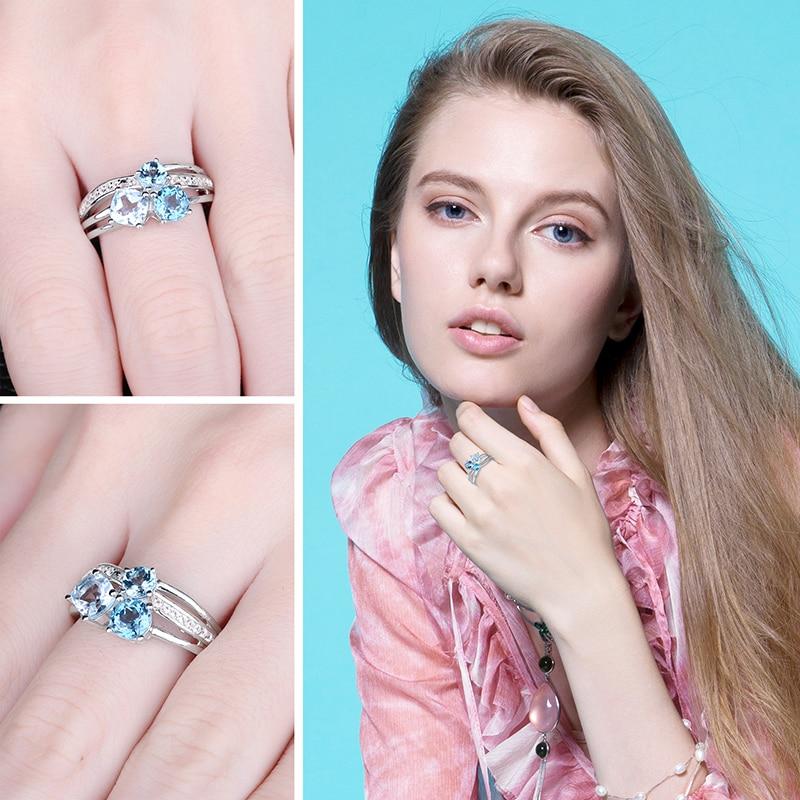 NakitPalace 1.7ct Pravi Multi London Blue Topaz 3 Stonesi Prsten - Fine nakit - Foto 3