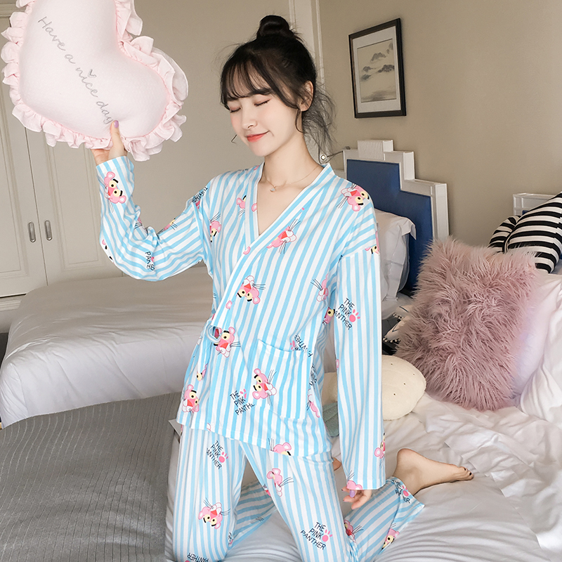 Long sleeved Japanese kimono Womens   Pajamas     Sets   2018 new Kawaii Female Casual Autumn Winter soft sleepwear
