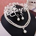 Joyería de La boda Fija el Collar de Perlas Y Pendientes Y Romántico Tocado Nupcial Accesorios para el Cabello Partido Joyería de Las Mujeres