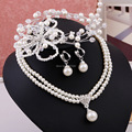 Wedding Jewelry Sets Pearl Necklace And Earrings And Headdress Romantic Bridal Hair Accessories Party Women Jewelry