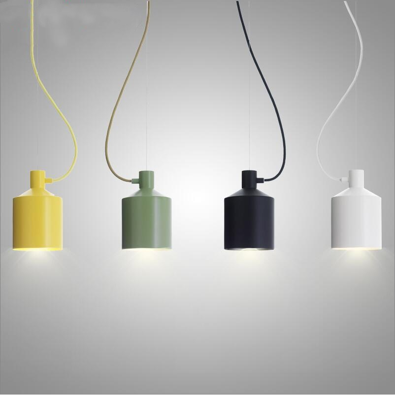 Striking minimalist Modern Simple Small Colorful Silo Pendant Lamp Lights Restaurant Bar Counter Hanging Lamp Light Dining Room
