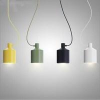 Uderzające minimalistyczny Nowoczesne Proste Małe Kolorowe Silos Wisiorek Lampa Światła Restauracja Bar Licznik Lampy Wiszące Światło Jadalnia