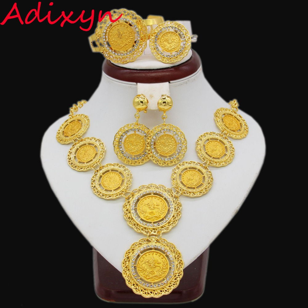 Adixyn Gold Color Turkey Coins NecklaceEarringRingBangle Big Coin Jewelry Sets For Women