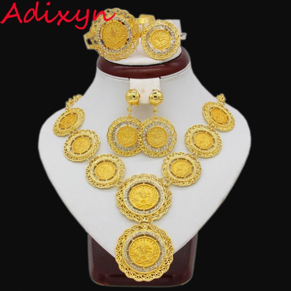 Frauen Und Kinder Neueste Luxus Großen Dubai Gold Farbe Kristall Halskette Schmuck Sets Fashion Nigerianischen Hochzeits Afrikanische Perlen Modeschmuck Geeignet FüR MäNner Hochzeits- & Verlobungs-schmuck