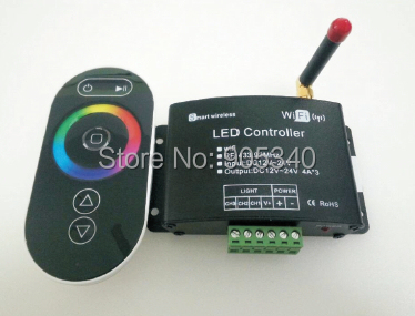 NEW  WiFi LED Controller RF wireless RGB Controlled by iPhone ,Android or IOS 4A*3CH, DC12-24V smart wifi RGB led controller dmx512 digital display 24ch dmx address controller dc5v 24v each ch max 3a 8 groups rgb controller