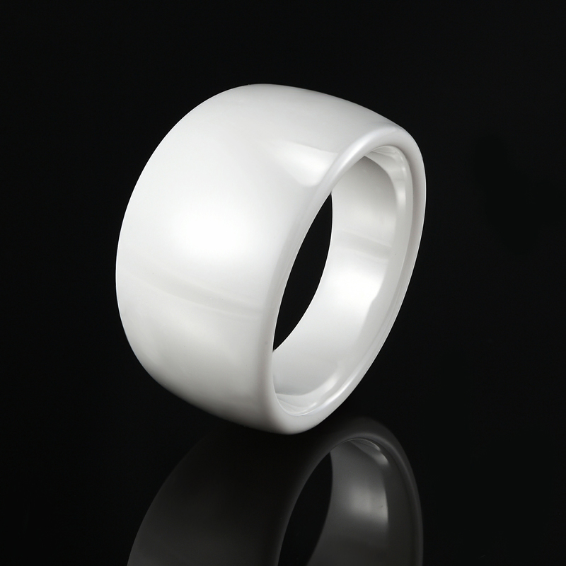 Classic Design Black White Smooth Curved Ceramic Ring For Men And Women