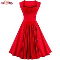 New Elegant Patchwork Tunic Dress Women Summer Rockabilly Vintage Red Dress Female Clothes Swing Robe Z3D48