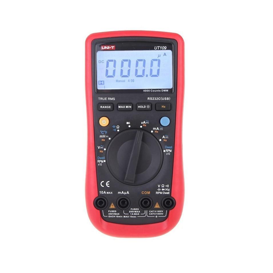 UNI-T UT109 Auto-Range Automotive Multi-Purpose Meter Automotive Multimeter Tester with Dwell-Tach/RPM Measurement original uni t ut106 handheld manual range automotive multimeter multi purpose meters w temperature
