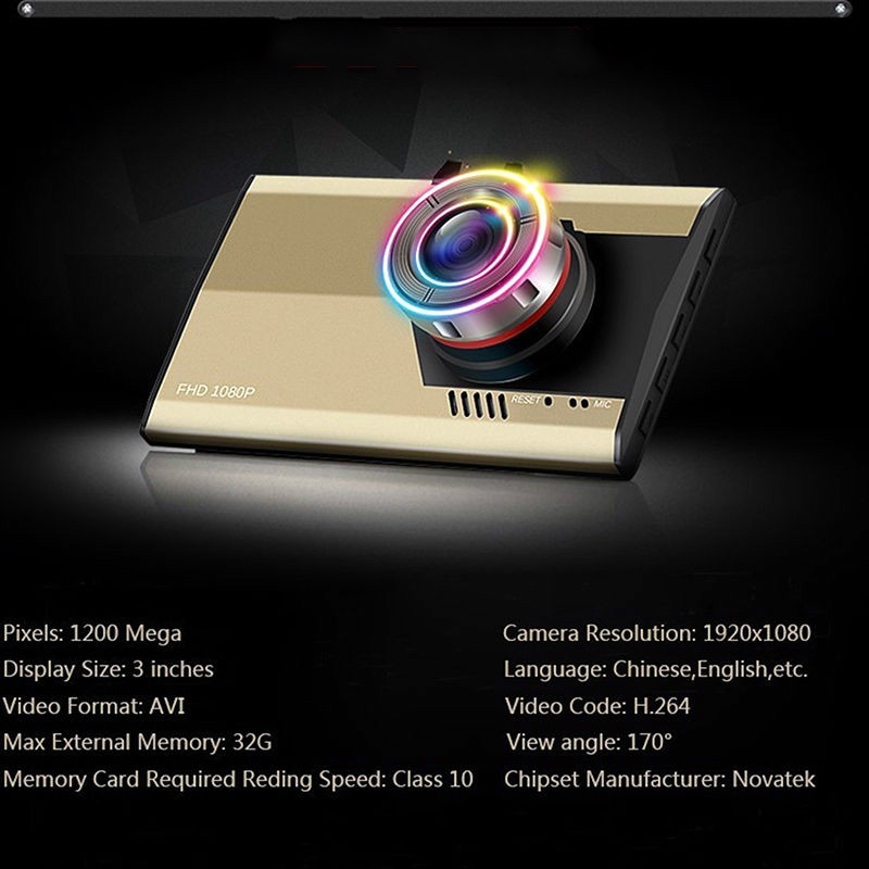 """imágenes para 3 """"LCD FHD Coche DVR 1080 P Dash Cam Video Recorder Visión Nocturna Digital de ORO, 12 millones de píxeles"""