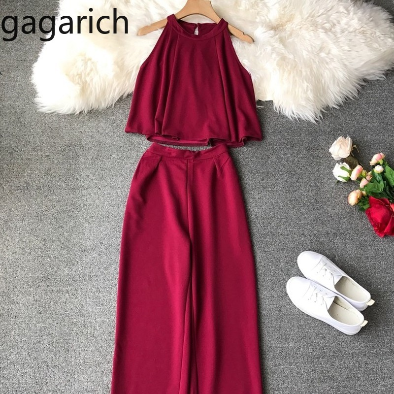 Gagarich Women Suit Spring Summer 2019 New Fashion Solid Loose Sleeveless Elegant Suit Vest Broad-legged Pants Two-piece Suit