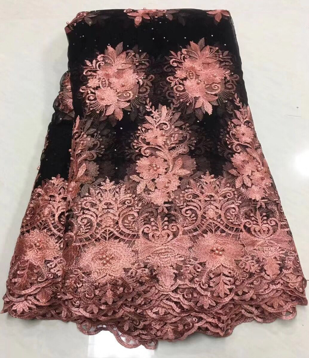 Bright 2018 Hot Sale Nigerian African Lace Fabrics French Guipure Tulle Light Pink Applique Bridal Lace Fabric For Wedding Party Dress Arts,crafts & Sewing