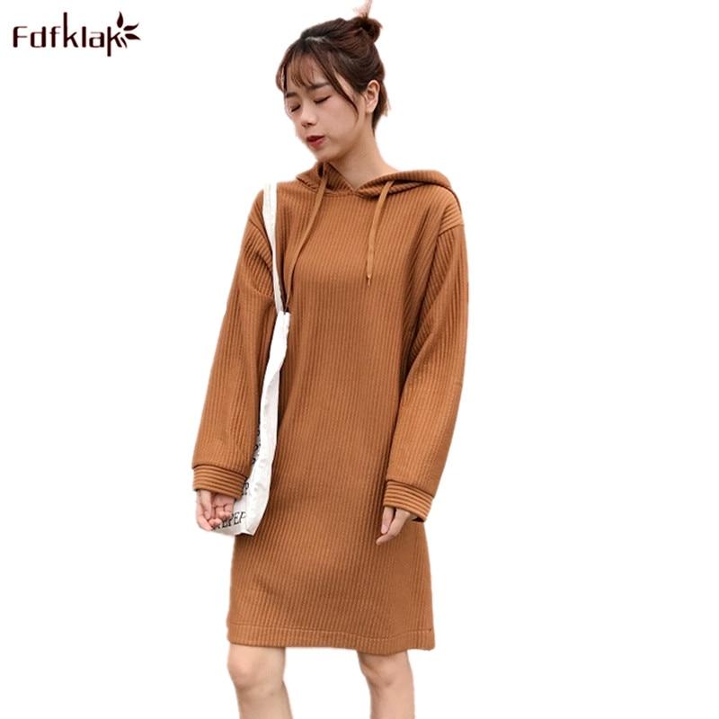 Fdfklak Korean Casual Dress Women Long Sleeve Spring Autumn Ladys Sweater Dress Hooded Short Dresses Female vestido mujer
