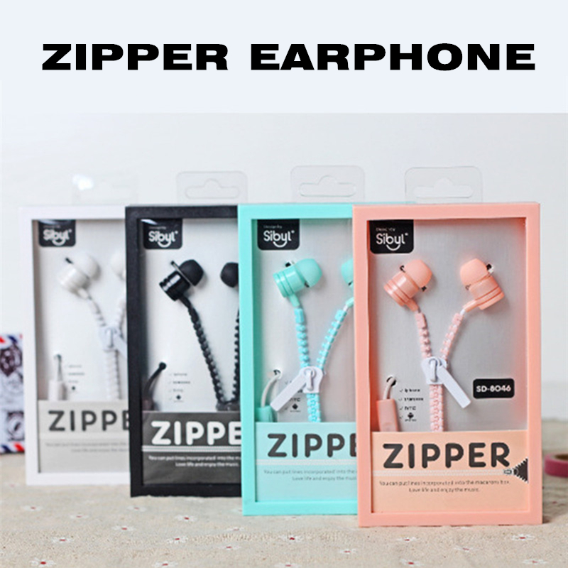 New Cute Girls Stereo Zipper Earphones 3.5mm in-ear Ear phone with Microphone for iPhone Samsung Mp3 Mp4 Kid Children Gift cute cartoon cat claw style in ear earphones for mp3 mp4 more blue white 3 5mm plug