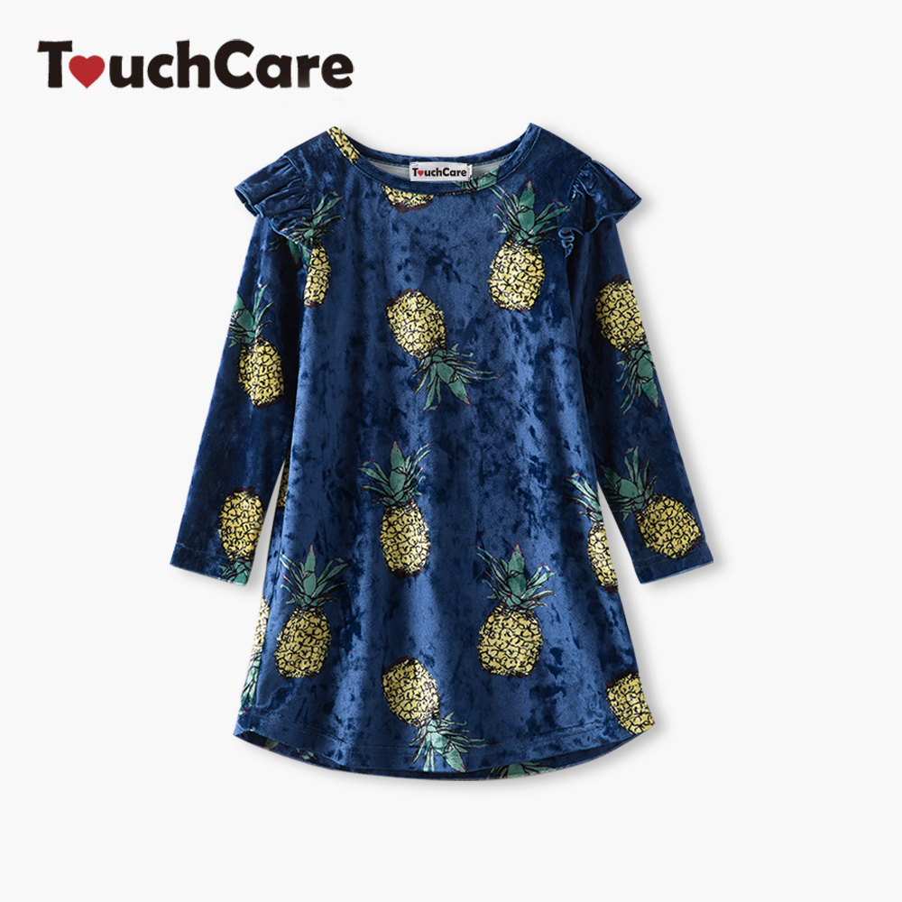 Little J Girls Velvet Sunflower Dresses Pineapple Cat Print Long Sleeve Clothing Kids Flower Dress vestido infantil para festa cat print hooded dress