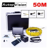 DHL Free 50M Cable Pipeline Sewer Endoscope camera 7 TFT LCD 6.5/17/23mm Inspection Underwater mini Snake DVR Camera WP70