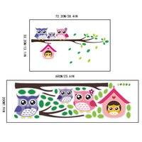 200x600 см пвх мультфильм сова животные дерево наклейки на стену для детей спальня детский сад детские наклейки на стены искусство наклейки на стены бумага