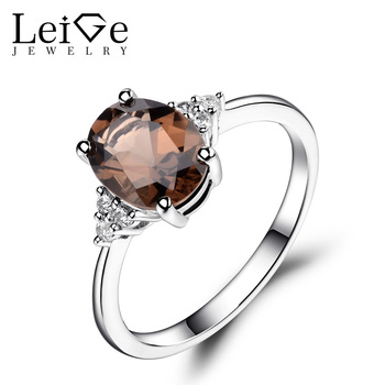 Leige Jewelry Smoky Quartz Ring Oval Shaped Engagement Promise Rings for Women Sterling Silver 925 Fine Jewelry Brown Gemstone