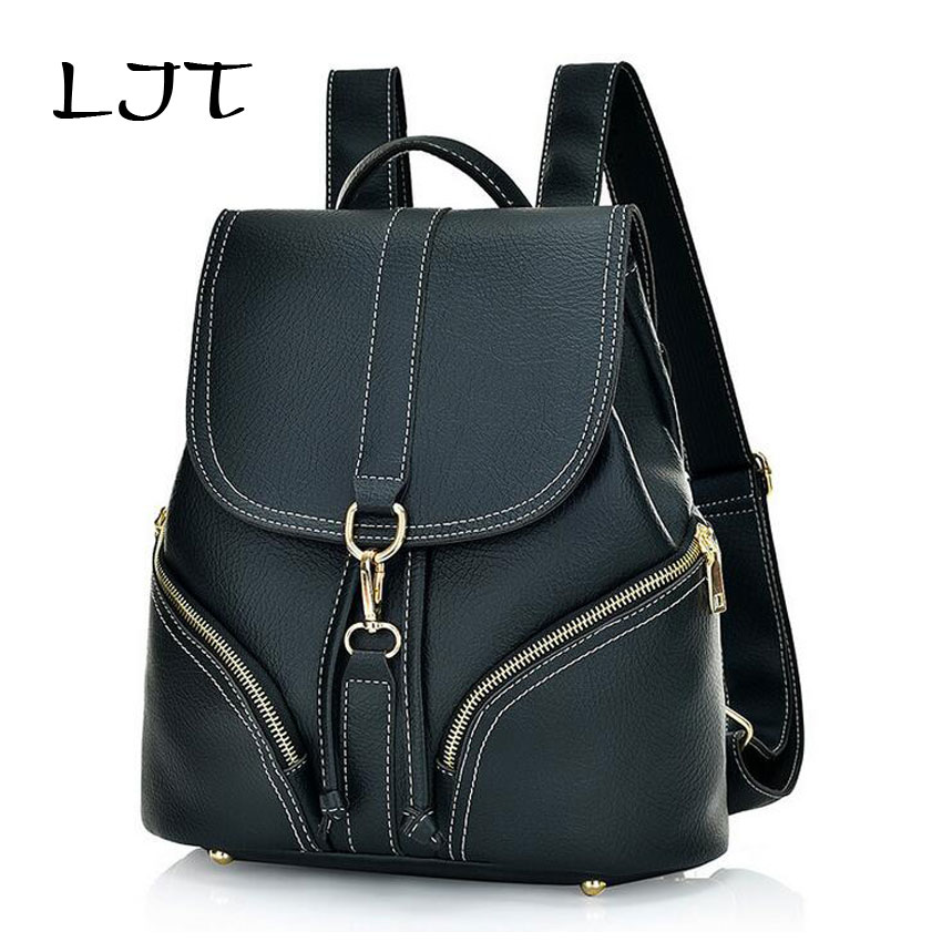 LJT 2017 New Korean Retro Fashion Women Backpack Leisure Travel Bag Student PU Leather School Bag Travel Casual Daypacks mochila 2017 new korean man pu leather backpack male new style junior middle school students leisure travel backpack fashion bag
