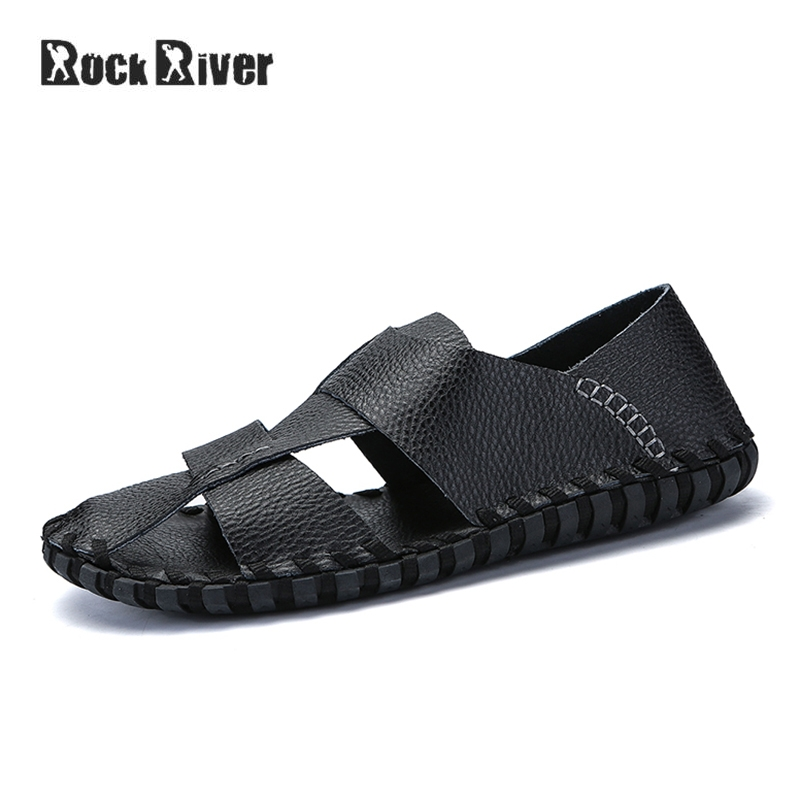 Genuine Leather Sandals Men 2018 Handmade Mens Sandals Summer Breathable Casual Beach Sandals Gladiator Mens Shoes Rubber Sole